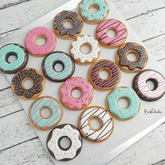 Last weekend my sister threw the cutest baby shower for me! The theme was donuts and diapers. How fun is that? Cookie Icing, Royal Icing Cookies, Cupcake Cookies, Sugar Cookies, Cookie Cutters, Cupcakes, Donut Birthday Parties, Donut Party, Donut Shape