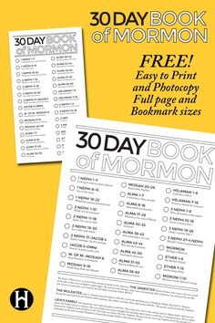 30 Day Book of Mormon Charts