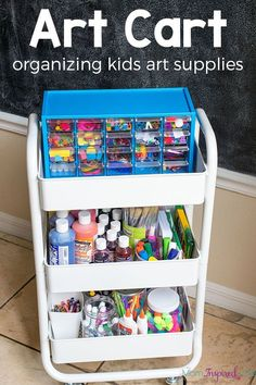 Organizing kids art supplies is easy with this art cart! Find out how I organize our art center and keep everything organized. Organizing kids art supplies is easy with this art cart! Find out how I organize our art center and keep everything organized. Kids Room Organization, Organizing Art Supplies, Organizing Kids Toys, Organizing Ideas, Art Cart, Craft Storage, Kids Art Storage, Art For Kids, Kids Art Space