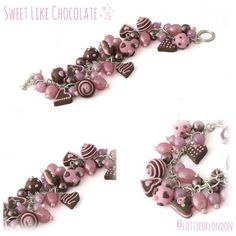 Our chocolate & candy pink charm bracelet was inspired by beautiful chocolatiers of Paris Saint Germain, handmade from charm jewellery by Lottie Of London