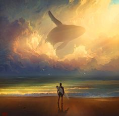 Surreal painting of surfer and whale