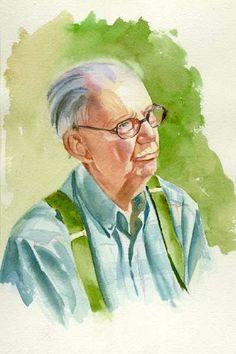Old Man Watercolor Portrait
