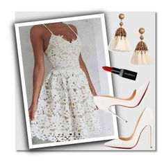 """""""White lace dress  by OKDRESS"""" by deeyanago ❤ liked on Polyvore featuring Christian Louboutin, Loren Hope and Smashbox"""