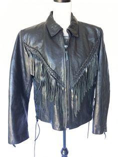 Black Leather Fringe Jacket mens womens vintage braided corset sides moto biker heavy duty by army genuine zipper wrists italian sale fitted by VELVETMETALVINTAGE on Etsy