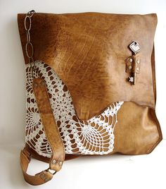 Boho Leather Messenger w/Vintage Doily lace & Antique Key by UrbanHeirlooms, via Flickr