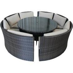 You WILL be mine!  BuildDirect: 5 Piece Curved Bench Dining Set Patio Furniture