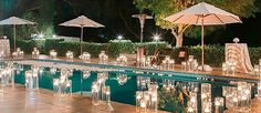 There are modern methods to decorate pool. The most inexpensive are floating candles and flowers. See our collection of wedding pool party decoration ideas!