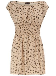 Beige Swallow Print Tunic