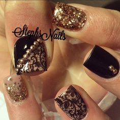"""#nude#black#lace#rosegold#glitterombre#cute#nails#love#halfnude#halfblack#rosegoldstuds#stampingplatelace#funnails#shortnails#notpolish#simplenails#lacenails#love"""