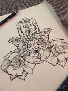Dotwork Hamsa With Roses Tattoo Design - Tattoo Pins - Dotwork Hamsa With Roses Tattoo Design - Hamsa Hand Tattoo, Hand Tattoos, Hamsa Tattoo Design, R Tattoo, Sternum Tattoo, Mandala Tattoo, Piercing Tattoo, Rose Tattoos, Tattoo Drawings
