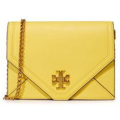 Tory Burch Kira Cross Body Bag (10 435 UAH) ❤ liked on Polyvore featuring bags, handbags, shoulder bags, summer yellow, hand bags, leather man bags, crossbody shoulder bag, crossbody purse and tory burch handbags