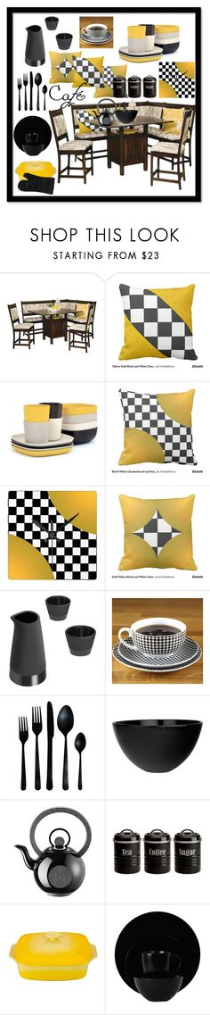 """Cafe Style Pop Art Retro Modern Black White Checkerboard and Yellow Breakfast Kitchen Set"" by cricketdiane ❤ liked on Polyvore featuring interior, interiors, interior design, home, home decor, interior decorating, DutchCrafters, Ekobo, Magisso and canvas"