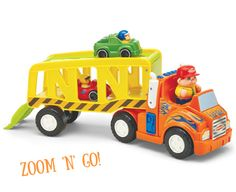 The Zoom 'n Go Car Carrier has so much to explore and do! Press the driver to hear music, or the steering wheel to hear the engine start and horn blow. Unsnap the back ramp to unload two race cars. Hours of pretend adventures. 3 AA batteries included for demo purposes only.