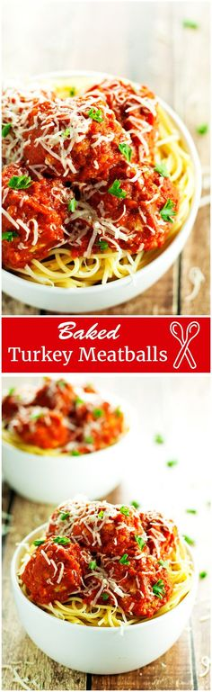 Baked turkey meatballs, smothered in tomato sauce and topped with parmesan cheese. Serve over pasta for a complete, easy, and healthy dinner recipe. | 2teaspoons.com
