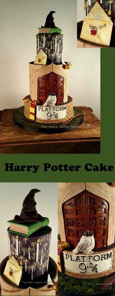 Harry Potter Geburtstagstorte von The Bee's Knees Custom Cakes - HarryPotterFood - Kuchen Harry Potter Torte, Harry Potter Birthday Cake, 10 Birthday Cake, Harry Potter Food, Birthday Cake Decorating, 10th Birthday, Purple Birthday, Funny Birthday, Birthday Candles