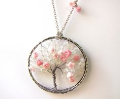 Wirework Sakura Tree Pendant on Stainless Steel Chain | gr8jewellery - Jewelry on ArtFire