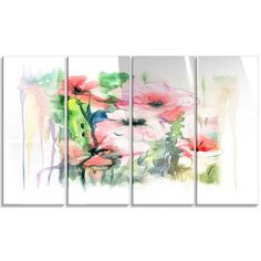 DesignArt 'Pink Floral Watercolor Illustration' 4 Piece Painting Print on Canvas Set
