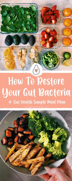 How to restore and improve your gut bacteria for a healthy gut and to balance a healthy digestion. With tips for gut health, supplements to support your gut, what foods to include in your diet and foods to avoid plus a gut health sample meal plan. Food For Digestion, Food For Ibs, Easy Healthy Recipes, Whole Food Recipes, Balanced Meal Plan, Health Meal Plan, Hormone Diet, Ibs Diet, Diet Foods
