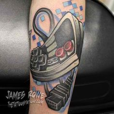 Find your next tattoo Nintendo Tattoo, Gaming Tattoo, Video Game Tattoos, Movie Tattoos, Gamer Tattoos, Tatoos, Hot Rods, Bee Embroidery, Design Tattoo