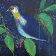 Oiseau de nuit - Night Bird - Original Painting de la boutique ValerieBelmokhtarArt sur Etsy