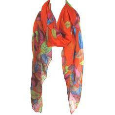 Colorful Digital Print Leaves Sheer Elegant Scarf Shawl Wrap