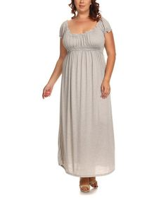 Look what I found on #zulily! Light Gray Empire-Waist Maxi Dress - Plus #zulilyfinds