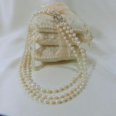 A Touch of Silver Triple Strand Freshwater Pearl by tbyrddesigns, $49.00