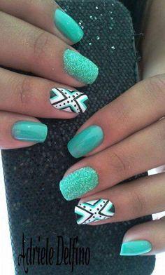 Spring Aztec Print Glittery Nail Art
