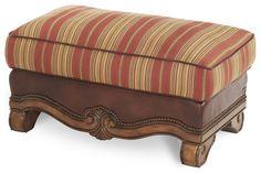Shop for AICO Michael Amini - Wood Trim Leather/Fabric Ottoman Biscotti, Brown Ottoman, Leather Ottoman, Leather Fabric, Square Ottoman, Fabric Ottoman, Decorative Trim, Wood Trim, Furniture Deals, Carving