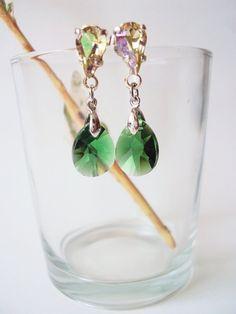 Green Teardrop Earrings, Rhinestone Earrings, Green Crystal Earrings by BijuBrill