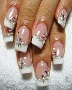 So beautiful nude, white and silver line french tips rhinestone