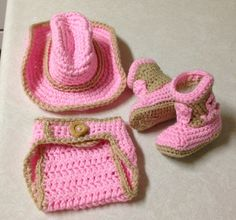 Crochet baby newborn cowgirl outfit hat and by CrochetbyDestinee, $35.00