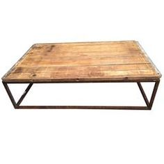 Industrial Wood and Metal Coffee Table, American, circa 1920
