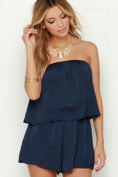 Waves They Roll Navy Blue Strapless Romper at Lulus.com!