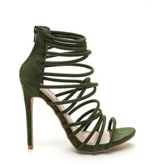GREEN Make A Wish Strappy Faux Suede Heels ($29) ❤ liked on Polyvore featuring shoes, pumps, heels, green, stiletto heel pumps, open-toe pumps, stiletto pumps, strap pumps and high heel stilettos