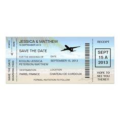 """Boarding Pass Save The Date Invitation Announcemen 4"""" X 9.25"""" Invitation Card"""