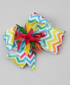 Take a look at this White & Yellow Zigzag Surprise Bow Clip on zulily today!