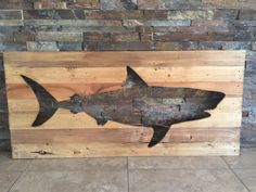 Distressed Great White Shark Wooden Pallet Art