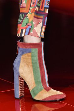Multicolored suede boots