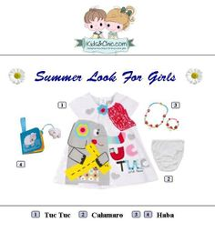 #Summer #look for #girls. Perfect for walking around the town. #Girl #dress  from collection Tuc Tuc & Friends by #TucTuc match perfectly girls #white #knickers from #Calamaro and #jewelry #designer #set lucky mushroom from #Haba.   Buggy #book sheep from  Haba will be perfect #gift for your little one. Check at www.kidsandchic.com/girl  #girlsclothing #girlsfashion #kidsfashion #trendychildren #kidsclothing #shoppingbarcelona #toys #babytoys