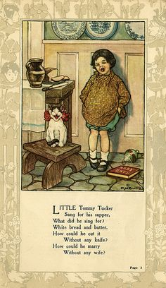 """'Little Tommy Tucker' - Page 3 from """"Mother Goose and Her Goslings"""", a sixteen-page softcover book illustrated by Clara Miller Burd; Dodson Collection, c. 1912 - 1918"""
