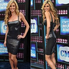 Erin Andrews Metallic Embellished Black Bandage Dress