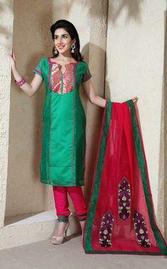 USD 60.94 Green Resham Work Silk Churidar Salwar Kameez 30695