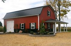Barn red siding with black roof 12' side walls exterior metal building Gray I want this Lester Building!