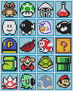 Says it's Mario coasters perler bead pattern, but looks like a cross stitch pattern to me!