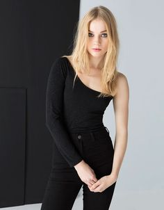 Bershka shimmer asymmetric bodysuit - Woman - Bershka Singapore