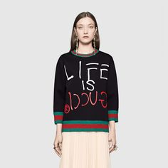 Life is Gucci Sweatshirt - Stripes in Green and Red - on Cuffs, Collar and Hem...Gucci backwards and flipped!