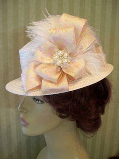 Ivory Peach Victorian Hat Wedding Hat Kentucky Derby by MsPurdy