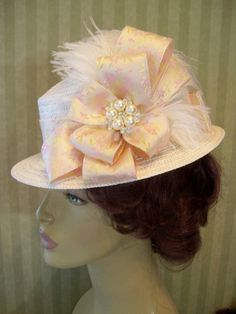 Ivory Peach Victorian Hat Wedding Hat Kentucky Derby by MsPurdy