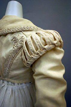 Detail of spencer jacket, Ensemble, British, silk & cotton, Metropolitan Museum of Art. 1800s Fashion, 19th Century Fashion, Vintage Fashion, 17th Century, Historical Costume, Historical Clothing, Fashion Details, Look Fashion, Mode Renaissance